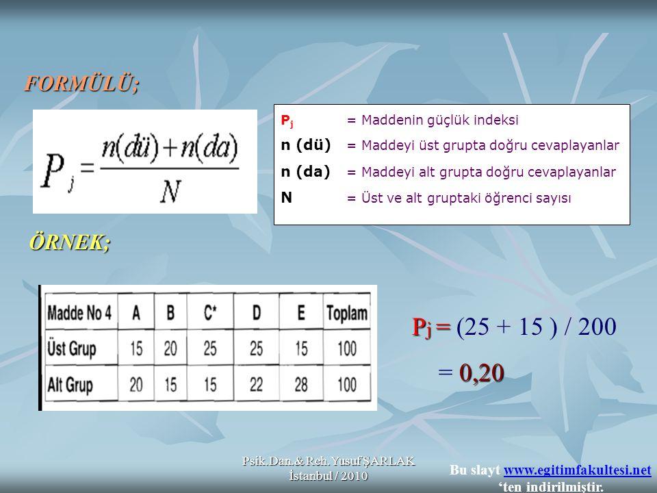 Psik.Dan.& Reh.Yusuf ŞARLAK İstanbul / 2010 Madde Güçlük İndeksi Maddenin Değerlendirilmesi Madde Güçlük İndeksi Maddenin Değerlendirilmesi 0,29 ve altında bulunan maddeler 0,29 ve altında bulunan maddeler  ZOR 0,30 ve 0,49 arasında bulunan maddeler 0,30 ve 0,49 arasında bulunan maddeler  ORTA GÜÇLÜKTE 0,50 ve 0,69 arasında bulunan maddeler 0,50 ve 0,69 arasında bulunan maddeler  KOLAY 0,70 ve 1,00 arasında bulunan maddeler 0,70 ve 1,00 arasında bulunan maddeler  ÇOK KOLAY * * Bir maddenin güçlük indeksinin 0,50 olmasını isteriz; fakat bir bir testteki tüm maddelerin güçlüklerinin 0,50 olmasını tercih edilmez.
