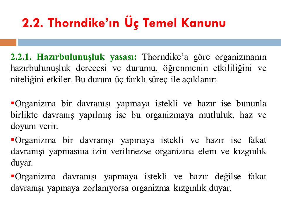 2.2. Thorndike'ın Üç Temel Kanunu 2.2.1. Hazırbulunuşluk yasası: Thorndike'a göre organizmanın hazırbulunuşluk derecesi ve durumu, öğrenmenin etkilili