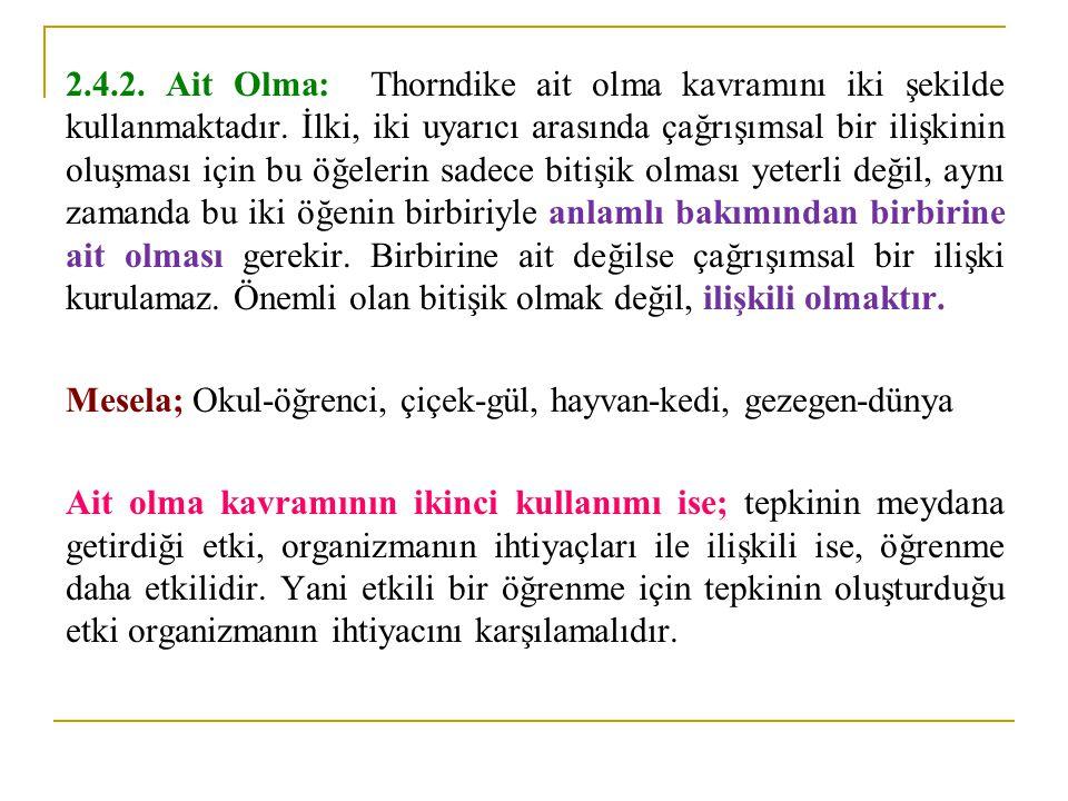 2.4.2.Ait Olma: Thorndike ait olma kavramını iki şekilde kullanmaktadır.