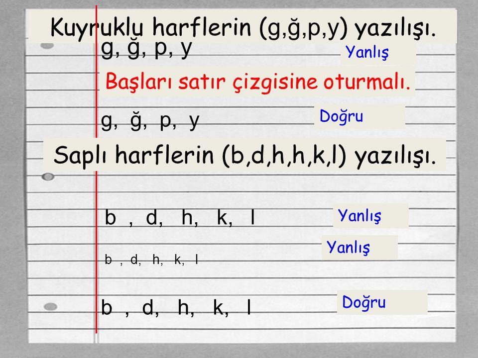 Kuyruklu harflerin ( g,ğ,p,y ) yazılışı. g, ğ, p, y Yanlış Başları satır çizgisine oturmalı. g, ğ, p, y Doğru Saplı harflerin (b,d,h,h,k,l) yazılışı.