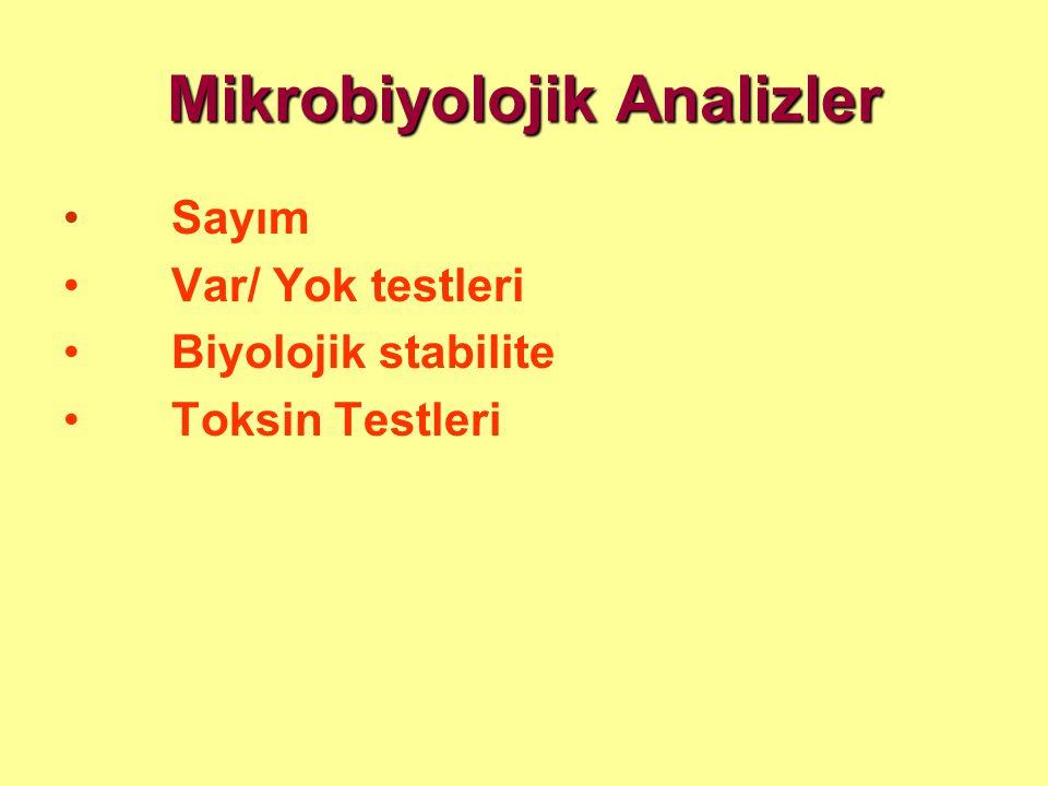 Mikrobiyolojik Analizler • Sayım • Var/ Yok testleri • Biyolojik stabilite • Toksin Testleri