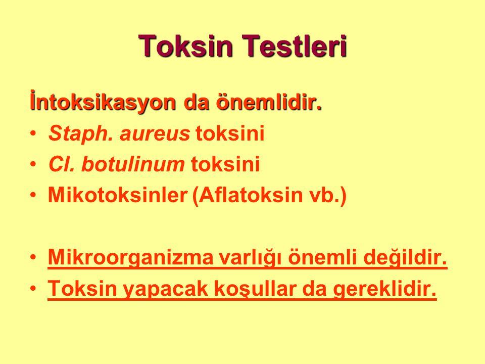 Toksin Testleri İntoksikasyon da önemlidir. •Staph. aureus toksini •Cl. botulinum toksini •Mikotoksinler (Aflatoksin vb.) •Mikroorganizma varlığı önem