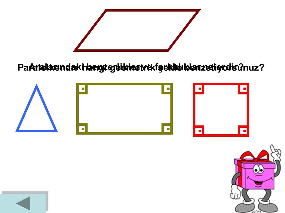2. Karşılıklı kenarları paralel ve karşılıklı açılarının ölçüleri eşit olan dörtgendir. A B C D │AD│// │BC│, │AB│//│DC│ │AD│= │BC│, │AB│=│DC│ ^^^^ Kar