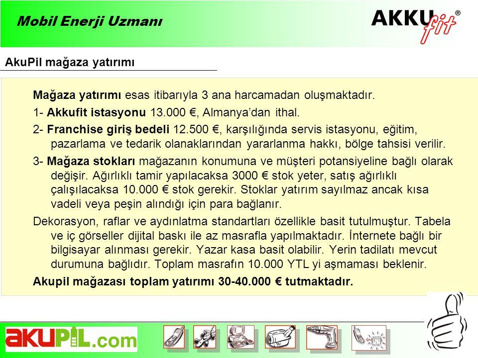 AkuPil mağaza yatırımı Mobil Enerji Uzmanı Mağaza yatırımı esas itibarıyla 3 ana harcamadan oluşmaktadır.