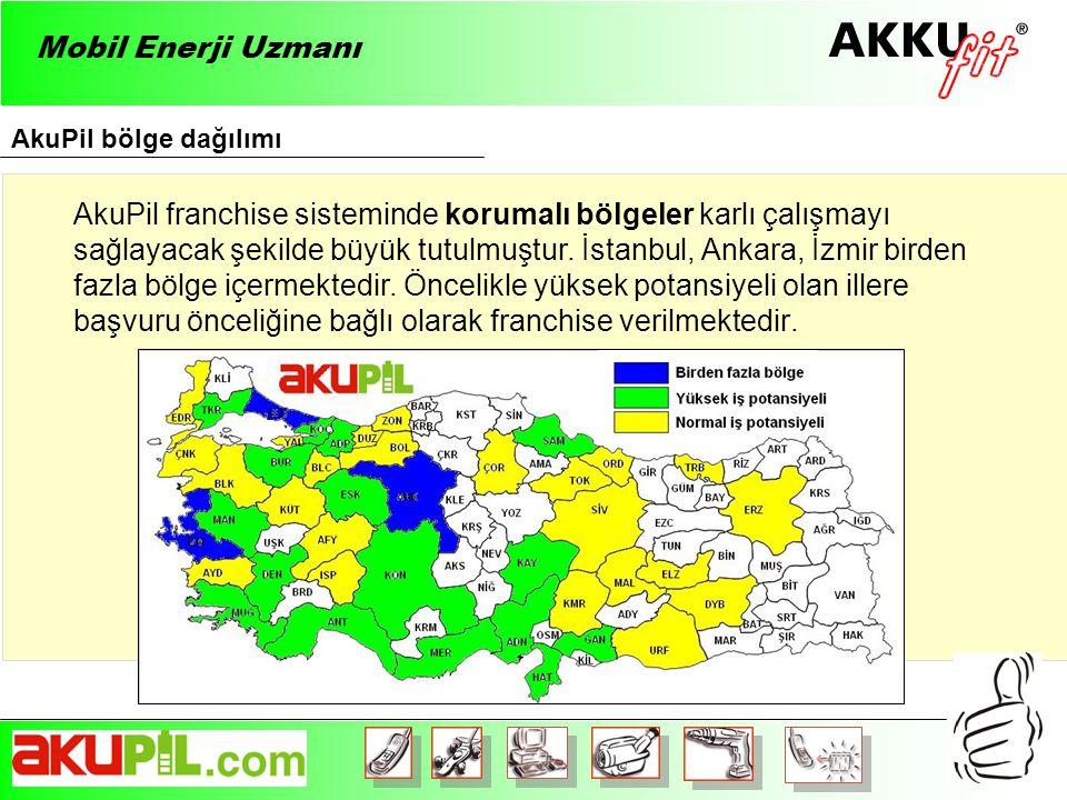 AkuPil bölge dağılımı Mobil Enerji Uzmanı AkuPil franchise sisteminde korumalı bölgeler karlı çalışmayı sağlayacak şekilde büyük tutulmuştur.