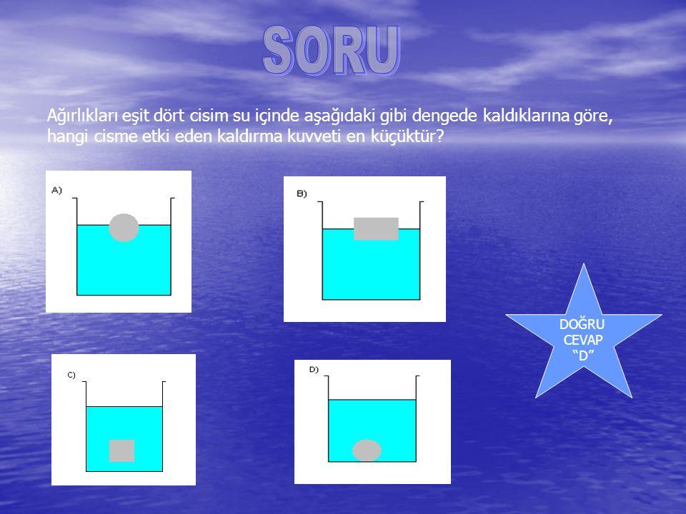 """Ağırlıkları eşit dört cisim su içinde aşağıdaki gibi dengede kaldıklarına göre, hangi cisme etki eden kaldırma kuvveti en küçüktür? DOĞRU CEVAP """"D"""""""