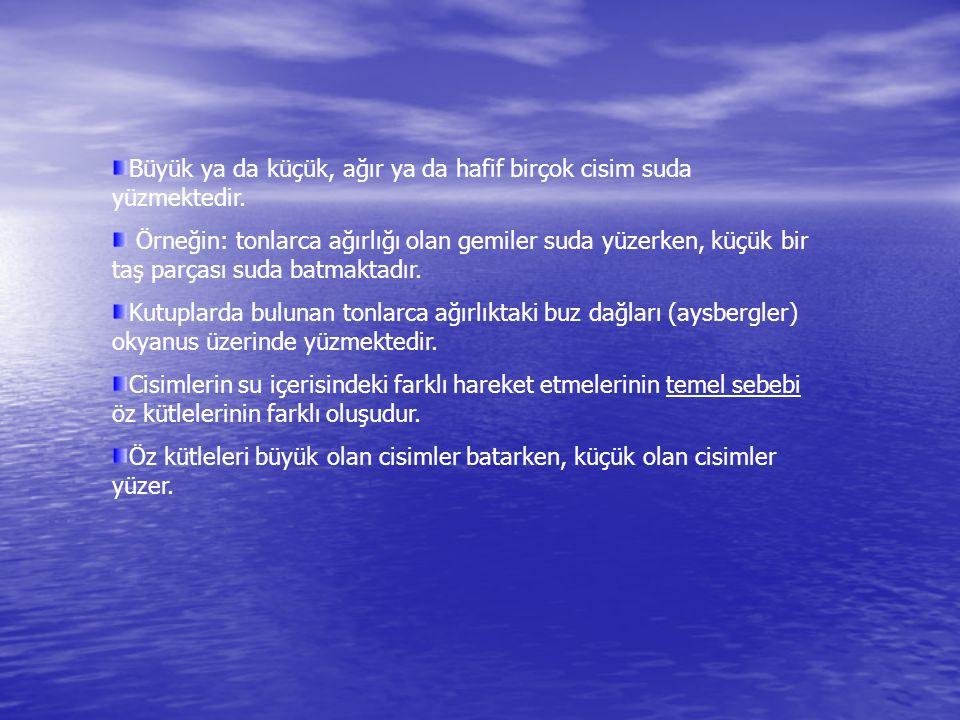 Büyük ya da küçük, ağır ya da hafif birçok cisim suda yüzmektedir. Örneğin: tonlarca ağırlığı olan gemiler suda yüzerken, küçük bir taş parçası suda b
