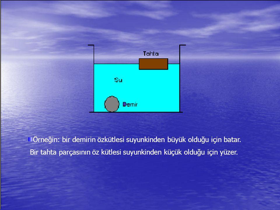Örneğin: bir demirin özkütlesi suyunkinden büyük olduğu için batar. Bir tahta parçasının öz kütlesi suyunkinden küçük olduğu için yüzer.
