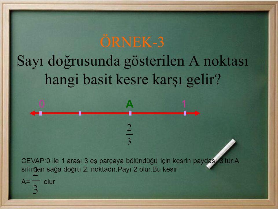 CEVAP:0 ile 1 arası 3 eş parçaya bölündüğü için kesrin paydası 3'tür.A sıfırdan sağa doğru 2.
