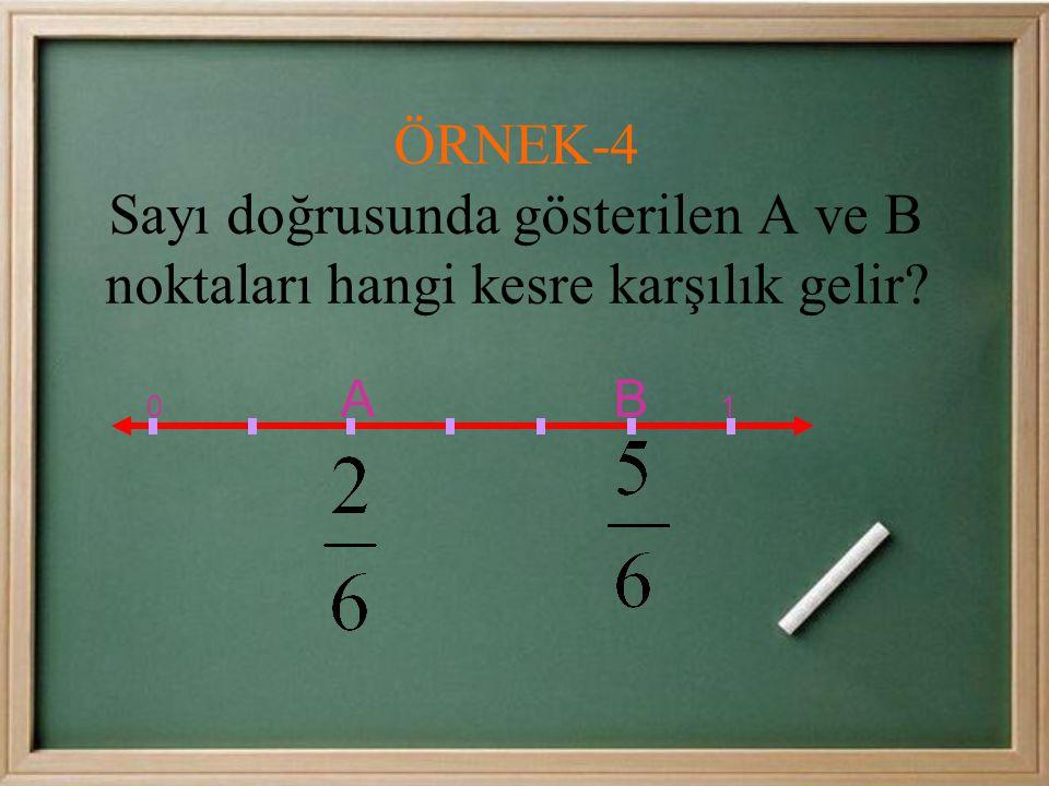 CEVAP:0 ile 1 arası 3 eş parçaya bölündüğü için kesrin paydası 3'tür.A sıfırdan sağa doğru 2. noktadır.Payı 2 olur.Bu kesir A= olur ÖRNEK-3 Sayı doğru