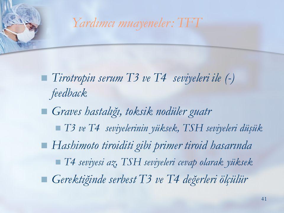 41  Tirotropin serum T3 ve T4 seviyeleri ile (-) feedback  Graves hastalığı, toksik nodüler guatr  T3 ve T4 seviyelerinin yüksek, TSH seviyeleri düşük  Hashimoto tiroiditi gibi primer tiroid hasarında  T4 seviyesi az, TSH seviyeleri cevap olarak yüksek  Gerektiğinde serbest T3 ve T4 değerleri ölçülür Yardımcı muayeneler: TFT