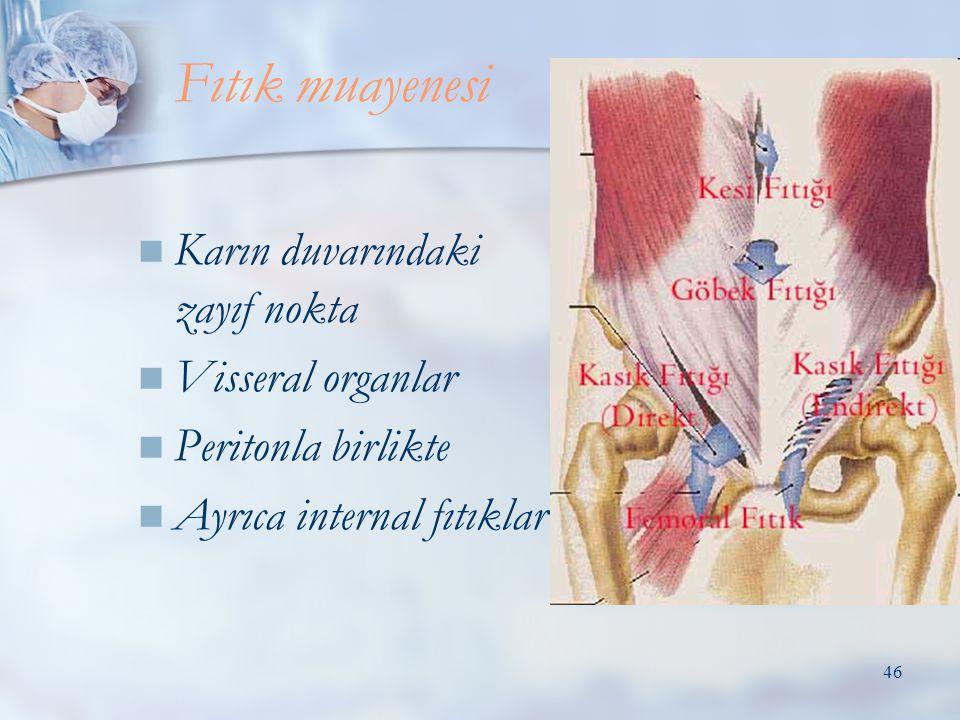 46  Karın duvarındaki zayıf nokta  Visseral organlar  Peritonla birlikte  Ayrıca internal fıtıklar Fıtık muayenesi