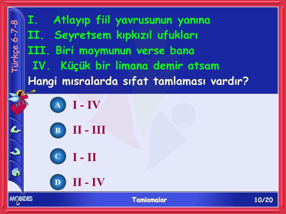 10/20 Tamlamalar A B C D I. Atlayıp fiil yavrusunun yanına II.