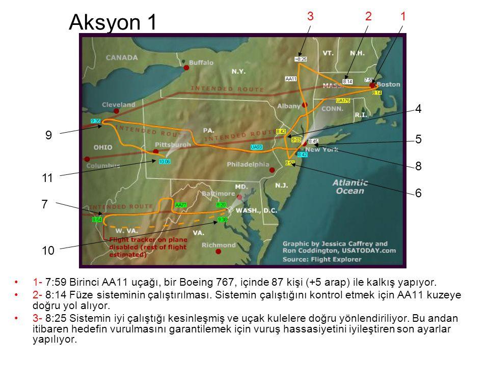 Aksyon 1 •1- 7:59 Birinci AA11 uçağı, bir Boeing 767, içinde 87 kişi (+5 arap) ile kalkış yapıyor.