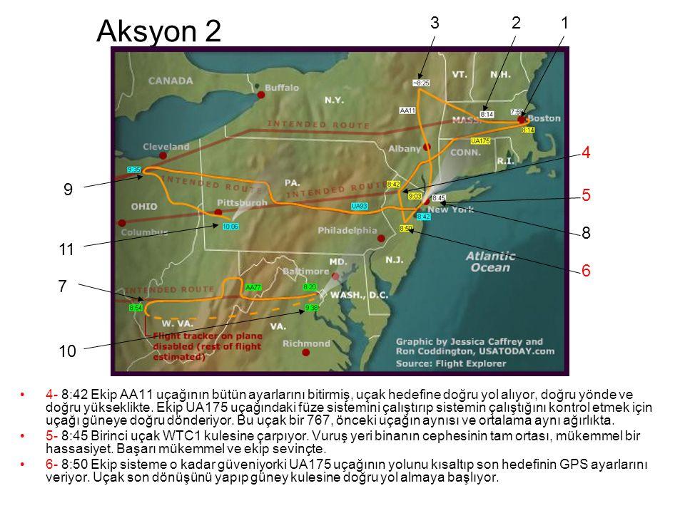 Aksyon 2 •4- 8:42 Ekip AA11 uçağının bütün ayarlarını bitirmiş, uçak hedefine doğru yol alıyor, doğru yönde ve doğru yükseklikte.