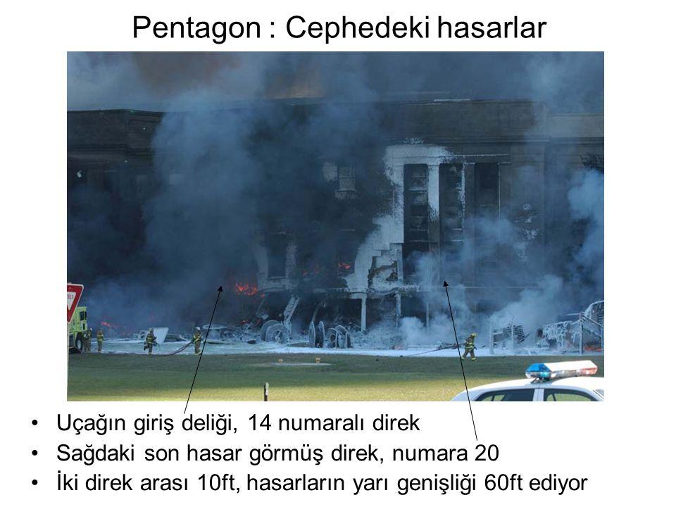 Pentagon : Cephedeki hasarlar •Uçağın giriş deliği, 14 numaralı direk •Sağdaki son hasar görmüş direk, numara 20 •İki direk arası 10ft, hasarların yarı genişliği 60ft ediyor