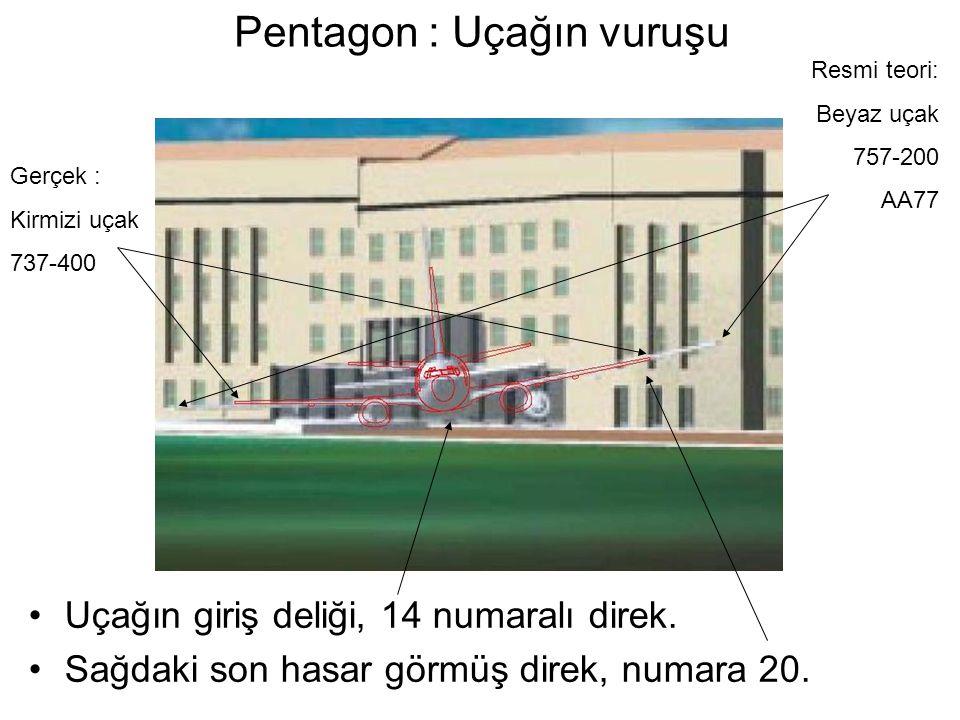 Pentagon : Uçağın vuruşu •Uçağın giriş deliği, 14 numaralı direk.