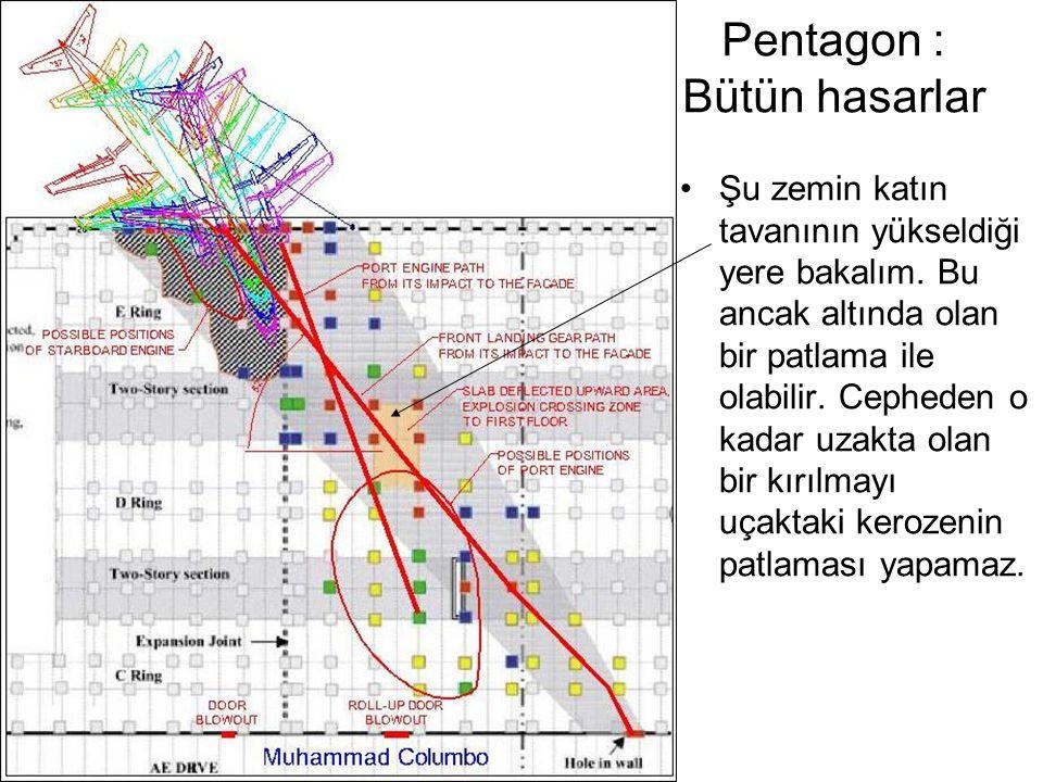 Pentagon : Bütün hasarlar •Şu zemin katın tavanının yükseldiği yere bakalım.