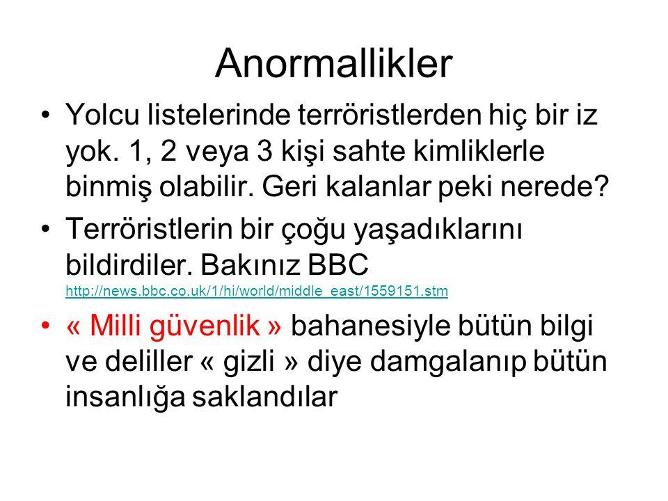 Anormallikler •Yolcu listelerinde terröristlerden hiç bir iz yok.