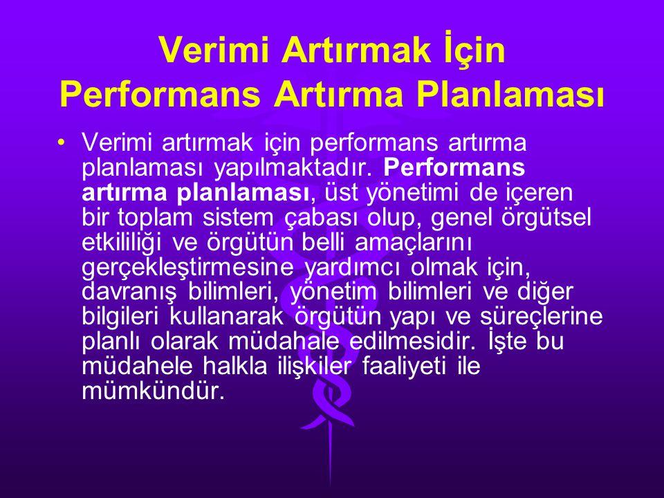 Verimi Artırmak İçin Performans Artırma Planlaması • •Verimi artırmak için performans artırma planlaması yapılmaktadır.