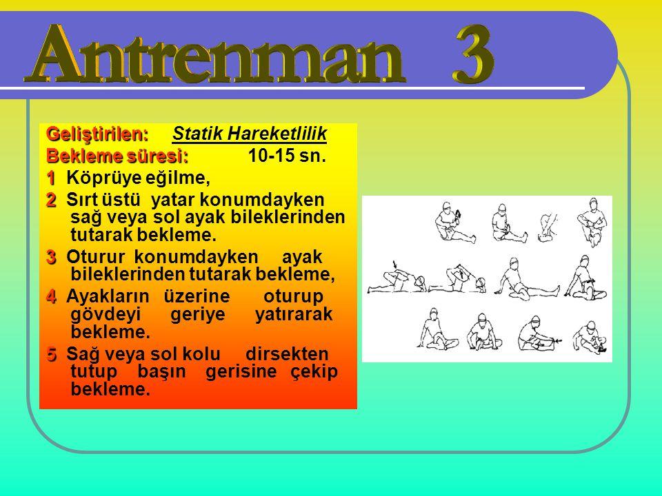 Geliştirilen: Geliştirilen: Statik Hareketlilik Bekleme süresi: Bekleme süresi: 10-15 sn. 1 1 Köprüye eğilme, 2 2 Sırt üstü yatar konumdayken sağ veya