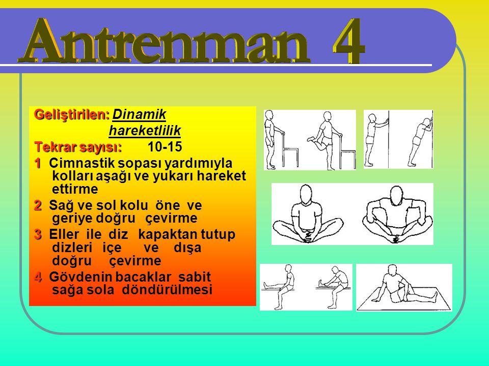 Geliştirilen: Geliştirilen: Dinamik hareketlilik Tekrar sayısı: Tekrar sayısı: 10-15 1 1 Cimnastik sopası yardımıyla kolları aşağı ve yukarı hareket e