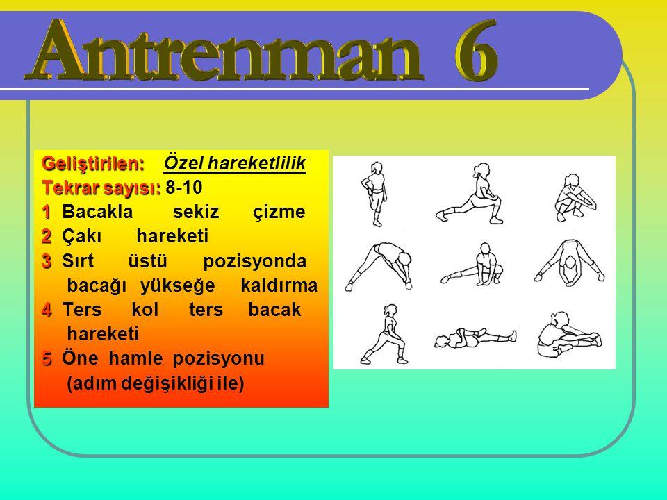Geliştirilen: Geliştirilen: Özel hareketlilik Tekrar sayısı: Tekrar sayısı: 8-10 1 1 Bacakla sekiz çizme 2 2 Çakı hareketi 3 3 Sırt üstü pozisyonda ba