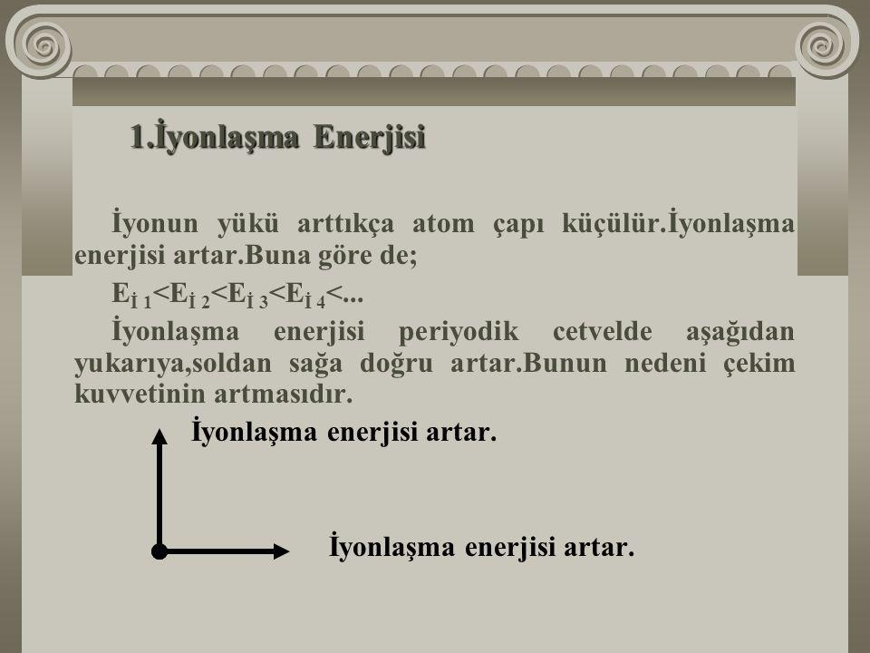 1.İyonlaşma Enerjisi: Bir atomda kaç tane elektron bulunuyorsa,o kadar iyonlaşma enerjisi vardır.Bunlardan en küçüğü birinci iyonlaşma enerjisidir.Çün