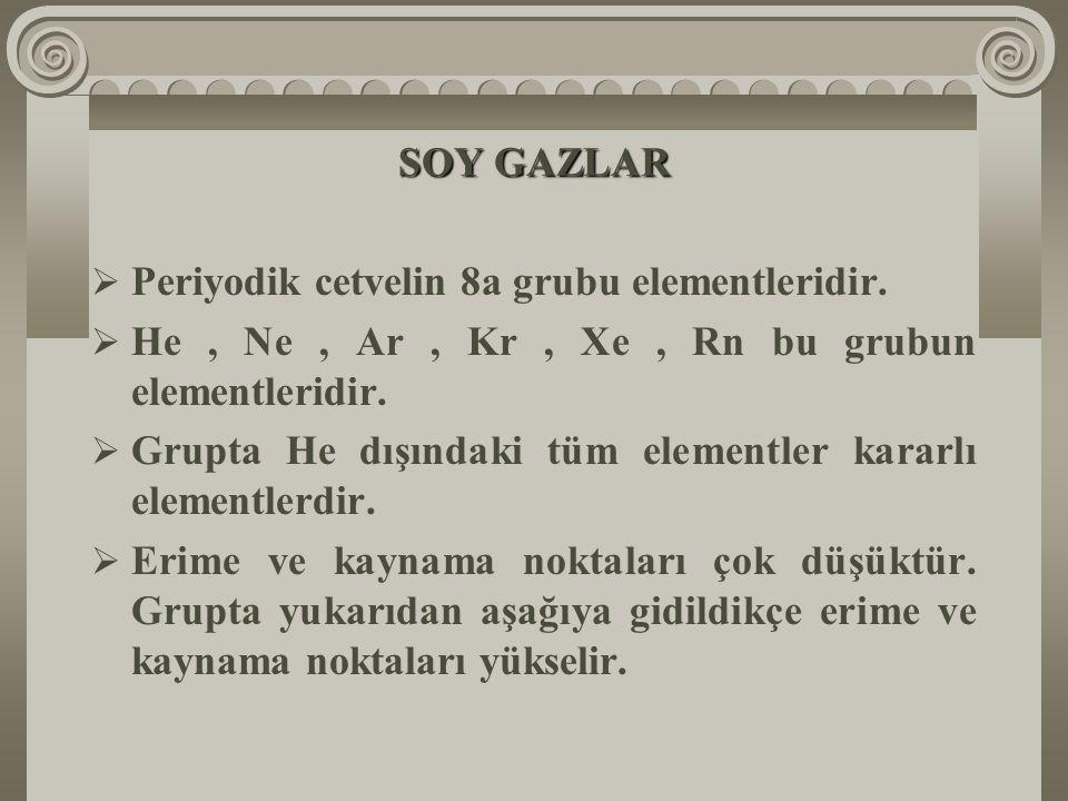 SOY GAZLAR  Periyodik cetvelin 8a grubu elementleridir.