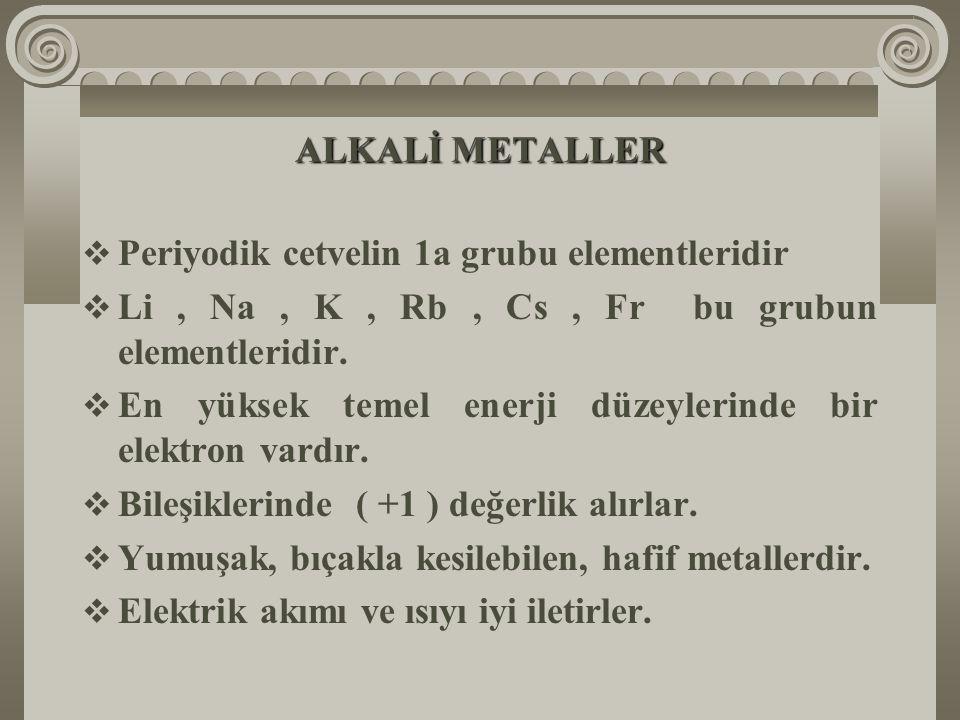 ALKALİ METALLER  Periyodik cetvelin 1a grubu elementleridir  Li, Na, K, Rb, Cs, Fr bu grubun elementleridir.