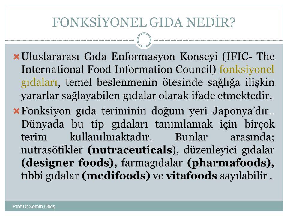 FONKSİYONEL GIDA NEDİR? Prof.Dr.Semih Ötleş  Uluslararası Gıda Enformasyon Konseyi (IFIC- The International Food Information Council) fonksiyonel gıd
