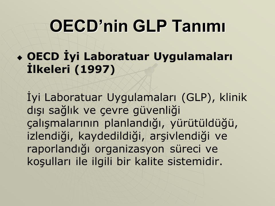 OECD'nin GLP Tanımı   OECD İyi Laboratuar Uygulamaları İlkeleri (1997) İyi Laboratuar Uygulamaları (GLP), klinik dışı sağlık ve çevre güvenliği çalı