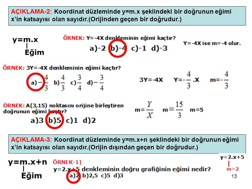 13 AÇIKLAMA-2: Koordinat düzleminde y=m.x şeklindeki bir doğrunun eğimi x'in katsayısı olan sayıdır.(Orijinden geçen bir doğrudur.) AÇIKLAMA-3: Koordi