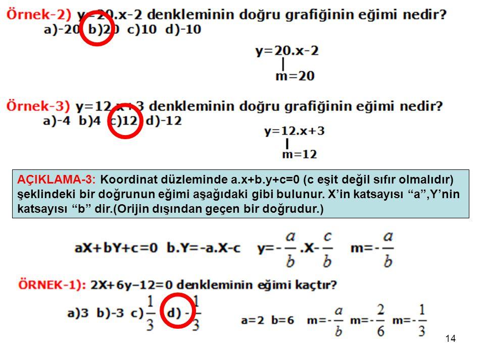 """14 AÇIKLAMA-3: Koordinat düzleminde a.x+b.y+c=0 (c eşit değil sıfır olmalıdır) şeklindeki bir doğrunun eğimi aşağıdaki gibi bulunur. X'in katsayısı """"a"""