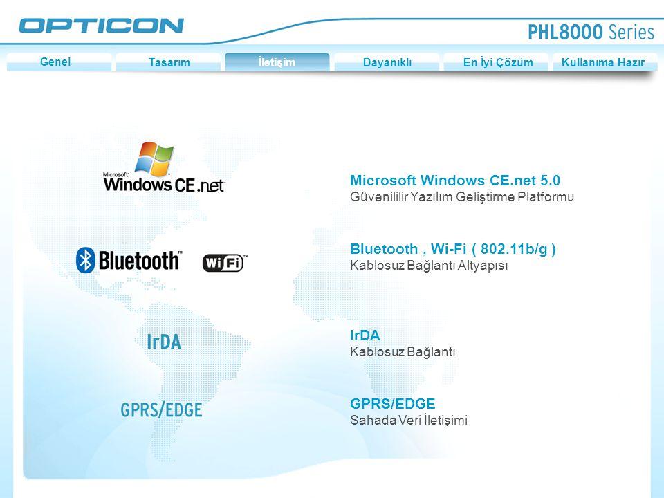 Microsoft Windows CE.net 5.0 Güvenililir Yazılım Geliştirme Platformu Bluetooth, Wi-Fi ( 802.11b/g ) Kablosuz Bağlantı Altyapısı IrDA Kablosuz Bağlantı GPRS/EDGE Sahada Veri İletişimi GenelTasarımİletişimDayanıklıEn İyi ÇözümKullanıma Hazır