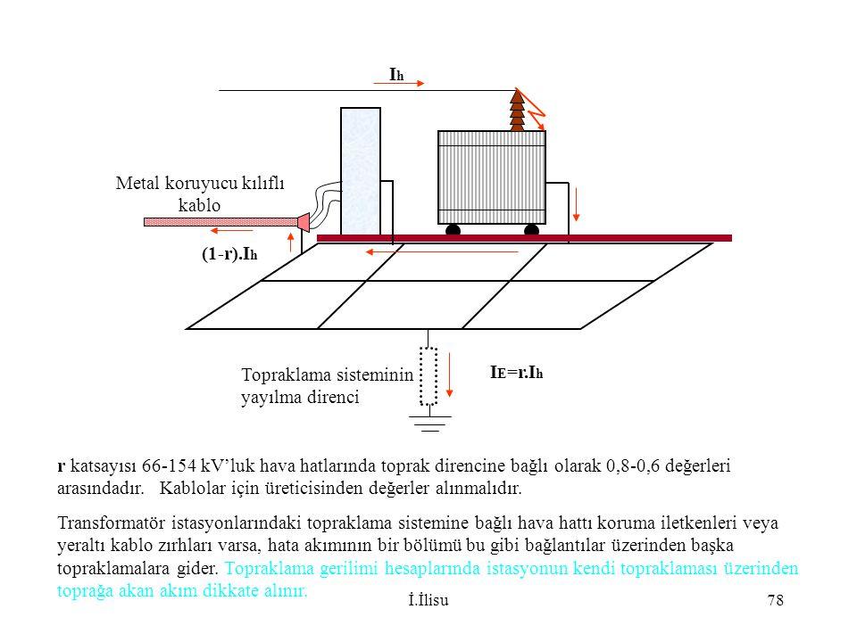 İ.İlisu78 r katsayısı 66-154 kV'luk hava hatlarında toprak direncine bağlı olarak 0,8-0,6 değerleri arasındadır. Kablolar için üreticisinden değerler