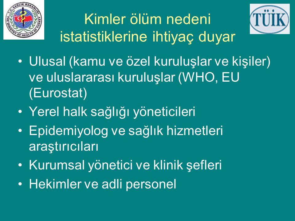Kimler ölüm nedeni istatistiklerine ihtiyaç duyar •Ulusal (kamu ve özel kuruluşlar ve kişiler) ve uluslararası kuruluşlar (WHO, EU (Eurostat) •Yerel h