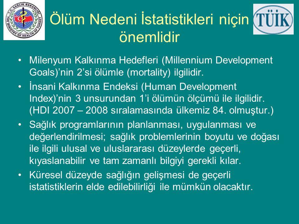 Ölüm Nedeni İstatistikleri niçin önemlidir •Milenyum Kalkınma Hedefleri (Millennium Development Goals)'nin 2'si ölümle (mortality) ilgilidir. •İnsani