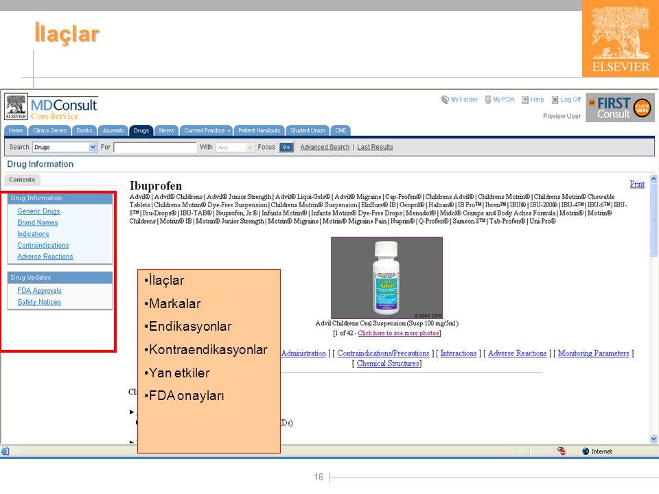 16 İlaçlar •İlaçlar •Markalar •Endikasyonlar •Kontraendikasyonlar •Yan etkiler •FDA onayları