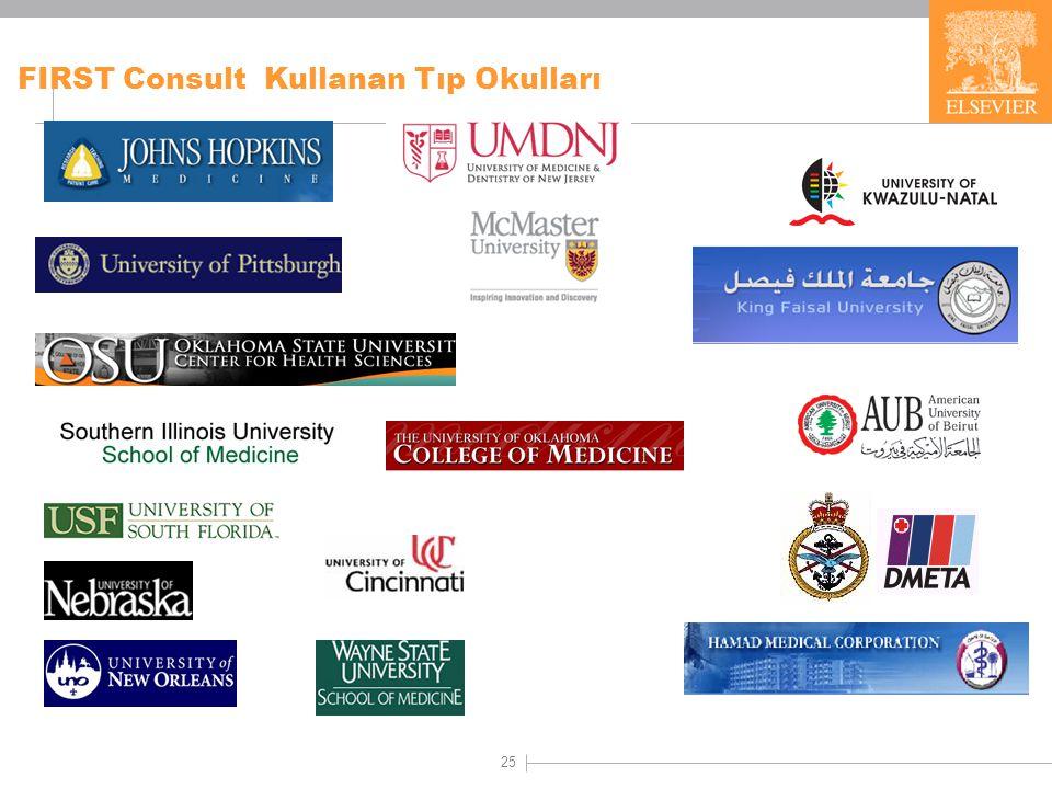 25 FIRST Consult Kullanan Tıp Okulları