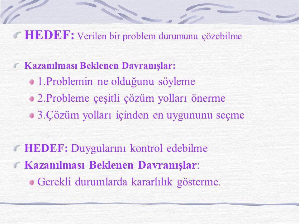 HEDEF: Verilen bir problem durumunu çözebilme Kazanılması Beklenen Davranışlar: 1.Problemin ne olduğunu söyleme 2.Probleme çeşitli çözüm yolları önerme 3.Çözüm yolları içinden en uygununu seçme HEDEF: Duygularını kontrol edebilme Kazanılması Beklenen Davranışlar: Gerekli durumlarda kararlılık gösterme.