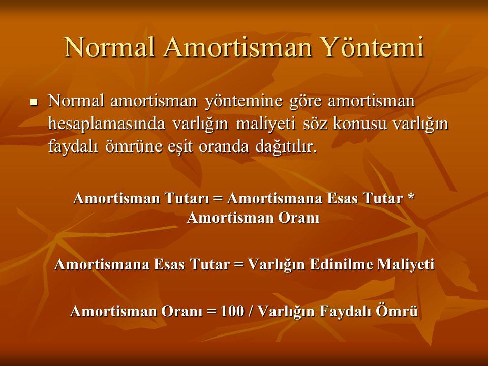 Normal Amortisman Yöntemi  Normal amortisman yöntemine göre amortisman hesaplamasında varlığın maliyeti söz konusu varlığın faydalı ömrüne eşit oranda dağıtılır.