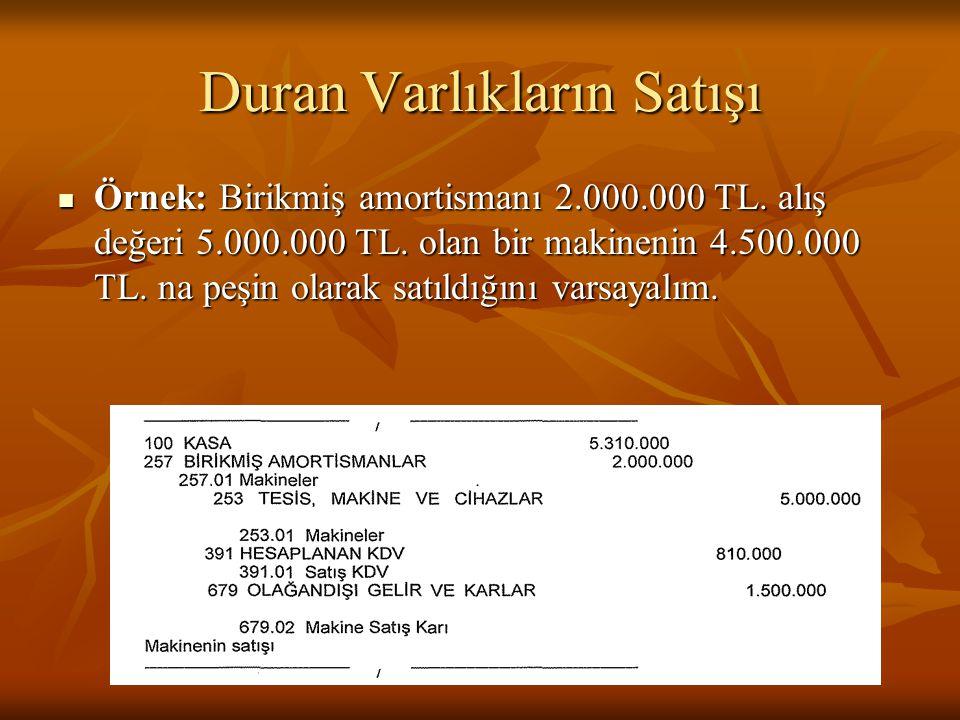 Duran Varlıkların Satışı  Örnek: Birikmiş amortismanı 2.000.000 TL.
