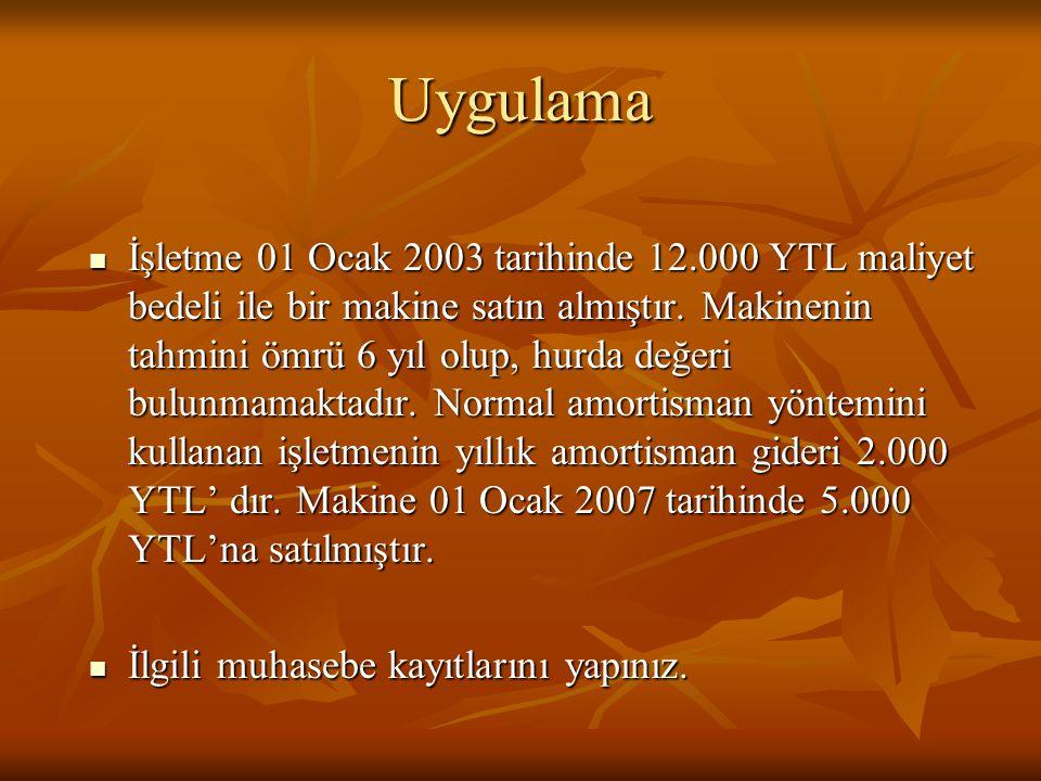 Uygulama  İşletme 01 Ocak 2003 tarihinde 12.000 YTL maliyet bedeli ile bir makine satın almıştır.
