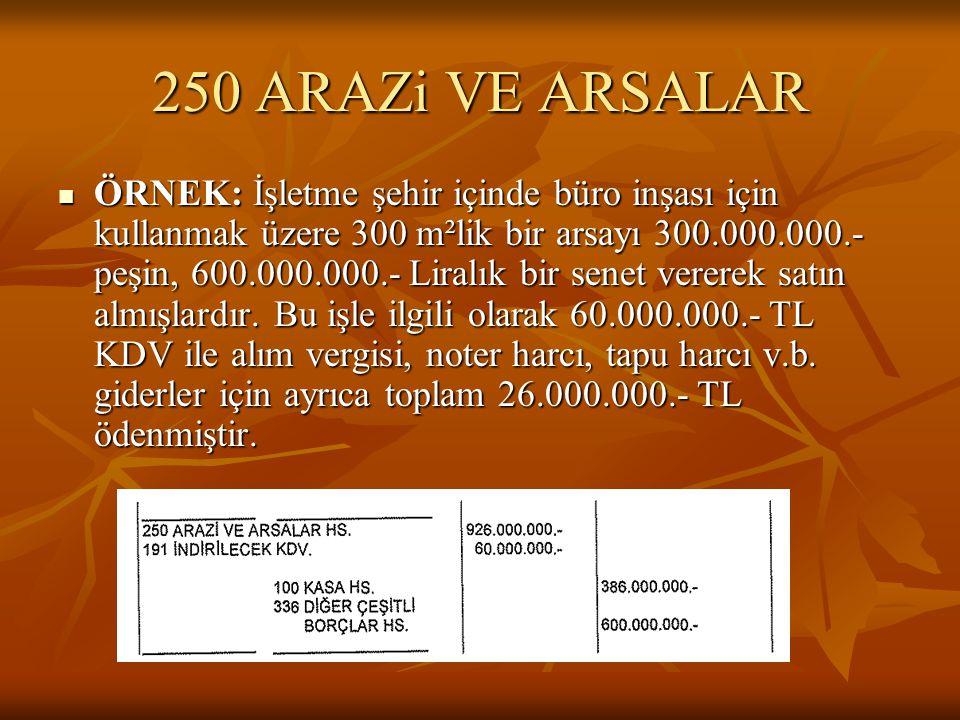 250 ARAZi VE ARSALAR  ÖRNEK: İşletme şehir içinde büro inşası için kullanmak üzere 300 m²lik bir arsayı 300.000.000.- peşin, 600.000.000.- Liralık bir senet vererek satın almışlardır.