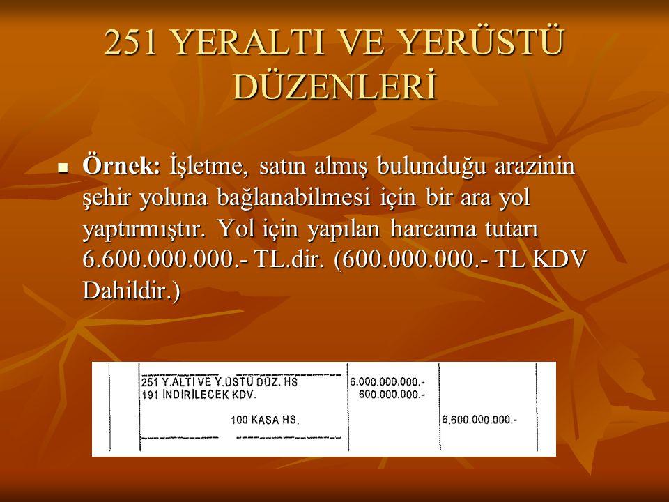 251 YERALTI VE YERÜSTÜ DÜZENLERİ  Örnek: İşletme, satın almış bulunduğu arazinin şehir yoluna bağlanabilmesi için bir ara yol yaptırmıştır.