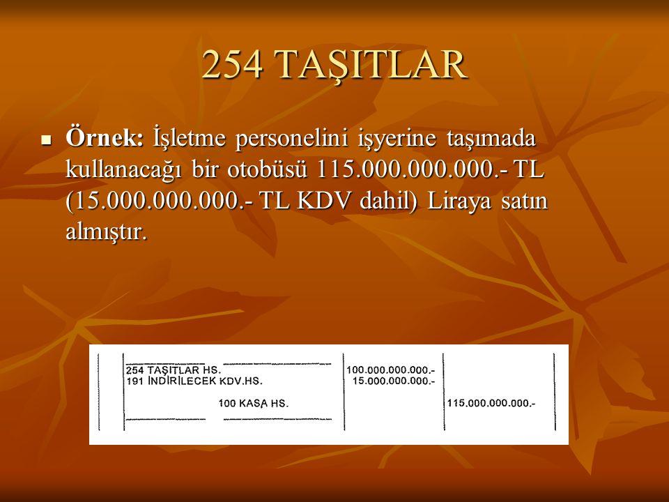 254 TAŞITLAR  Örnek: İşletme personelini işyerine taşımada kullanacağı bir otobüsü 115.000.000.000.- TL (15.000.000.000.- TL KDV dahil) Liraya satın almıştır.