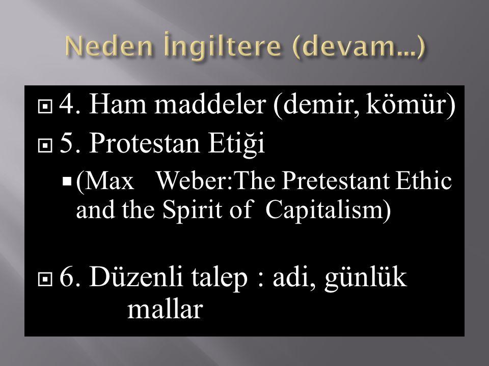  4. Ham maddeler (demir, kömür)  5. Protestan Etiği  (Max Weber:The Pretestant Ethic and the Spirit of Capitalism)  6. Düzenli talep : adi, günlük