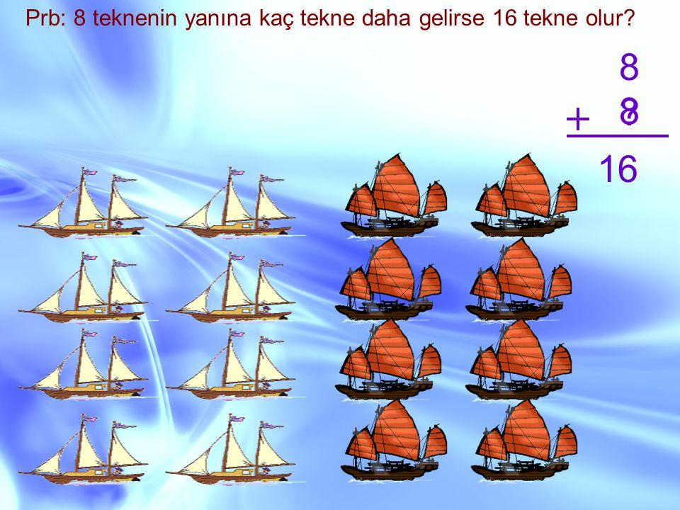 Prb: 8 teknenin yanına kaç tekne daha gelirse 16 tekne olur? 8 ? 16 8