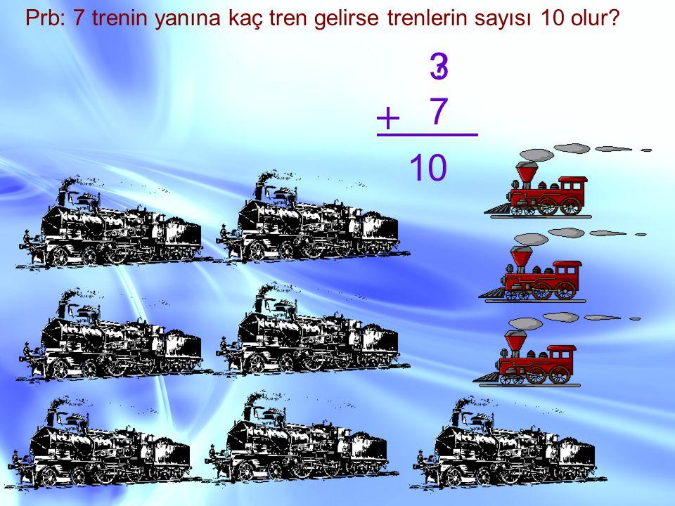 Prb: 7 trenin yanına kaç tren gelirse trenlerin sayısı 10 olur? ? 7 10 3